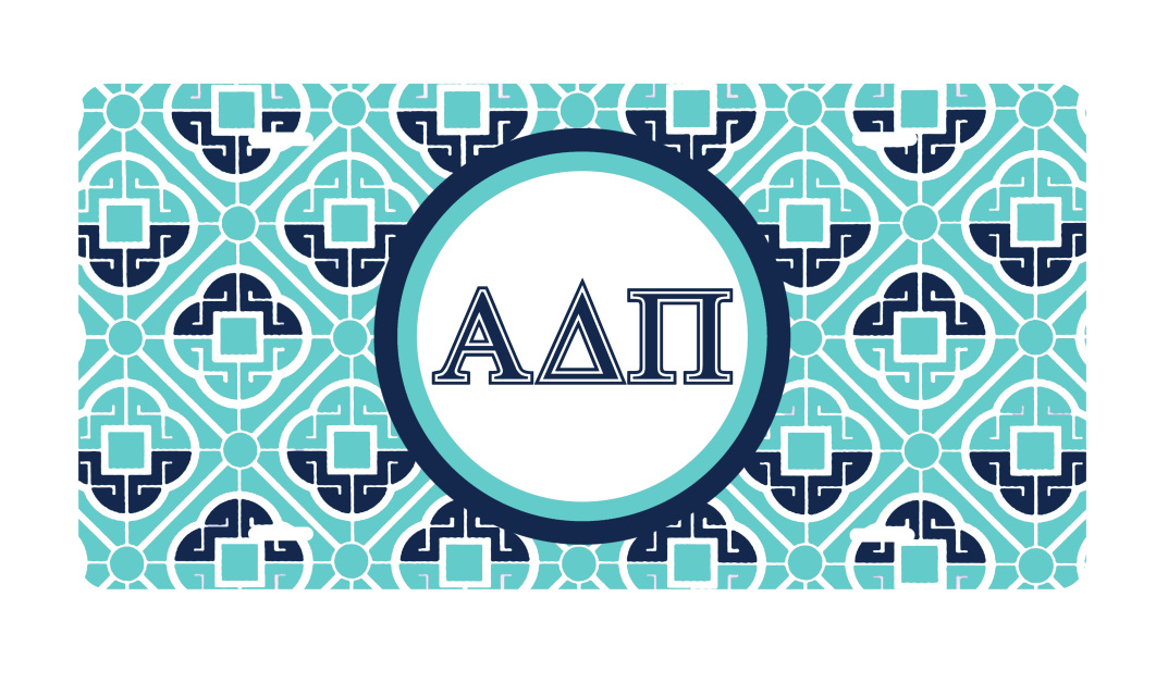 Sorority Greek Letters Geometric Key License Plate II